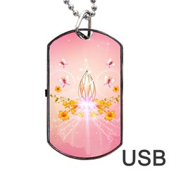 Wonderful Flowers With Butterflies And Diamond In Soft Pink Colors Dog Tag USB Flash (One Side)