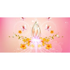 Wonderful Flowers With Butterflies And Diamond In Soft Pink Colors YOU ARE INVITED 3D Greeting Card (8x4)