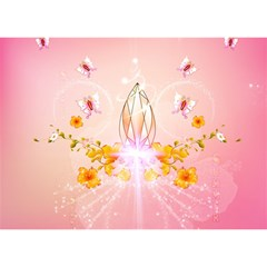 Wonderful Flowers With Butterflies And Diamond In Soft Pink Colors Birthday Cake 3D Greeting Card (7x5)