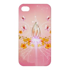 Wonderful Flowers With Butterflies And Diamond In Soft Pink Colors Apple iPhone 4/4S Hardshell Case