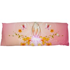 Wonderful Flowers With Butterflies And Diamond In Soft Pink Colors Body Pillow Cases Dakimakura (Two Sides)