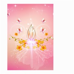 Wonderful Flowers With Butterflies And Diamond In Soft Pink Colors Small Garden Flag (Two Sides)