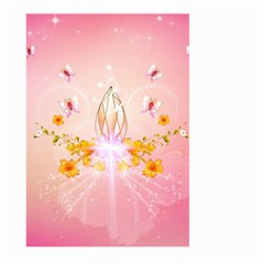 Wonderful Flowers With Butterflies And Diamond In Soft Pink Colors Large Garden Flag (two Sides)