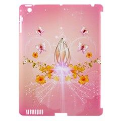 Wonderful Flowers With Butterflies And Diamond In Soft Pink Colors Apple iPad 3/4 Hardshell Case (Compatible with Smart Cover)