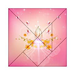 Wonderful Flowers With Butterflies And Diamond In Soft Pink Colors Acrylic Tangram Puzzle (6  x 6 )