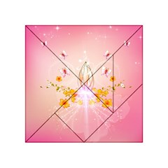 Wonderful Flowers With Butterflies And Diamond In Soft Pink Colors Acrylic Tangram Puzzle (4  X 4 )