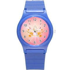 Wonderful Flowers With Butterflies And Diamond In Soft Pink Colors Round Plastic Sport Watch (S)
