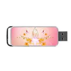 Wonderful Flowers With Butterflies And Diamond In Soft Pink Colors Portable USB Flash (One Side)