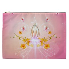 Wonderful Flowers With Butterflies And Diamond In Soft Pink Colors Cosmetic Bag (XXL)