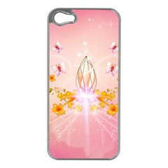Wonderful Flowers With Butterflies And Diamond In Soft Pink Colors Apple iPhone 5 Case (Silver)