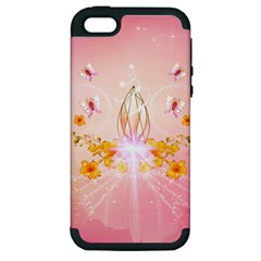 Wonderful Flowers With Butterflies And Diamond In Soft Pink Colors Apple iPhone 5 Hardshell Case (PC+Silicone)