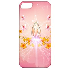 Wonderful Flowers With Butterflies And Diamond In Soft Pink Colors Apple iPhone 5 Classic Hardshell Case