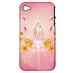 Wonderful Flowers With Butterflies And Diamond In Soft Pink Colors Apple iPhone 4/4S Hardshell Case (PC+Silicone)