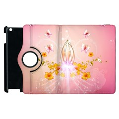 Wonderful Flowers With Butterflies And Diamond In Soft Pink Colors Apple iPad 2 Flip 360 Case