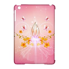 Wonderful Flowers With Butterflies And Diamond In Soft Pink Colors Apple iPad Mini Hardshell Case (Compatible with Smart Cover)