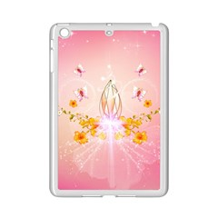 Wonderful Flowers With Butterflies And Diamond In Soft Pink Colors iPad Mini 2 Enamel Coated Cases