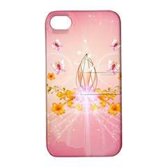 Wonderful Flowers With Butterflies And Diamond In Soft Pink Colors Apple iPhone 4/4S Hardshell Case with Stand