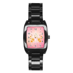 Wonderful Flowers With Butterflies And Diamond In Soft Pink Colors Stainless Steel Barrel Watch
