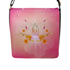 Wonderful Flowers With Butterflies And Diamond In Soft Pink Colors Flap Messenger Bag (L)