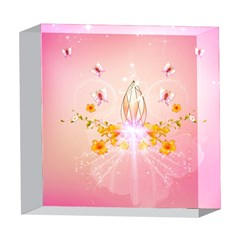 Wonderful Flowers With Butterflies And Diamond In Soft Pink Colors 5  x 5  Acrylic Photo Blocks