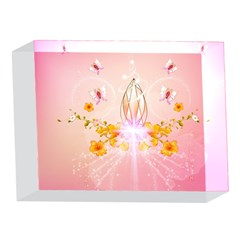 Wonderful Flowers With Butterflies And Diamond In Soft Pink Colors 5 x 7  Acrylic Photo Blocks