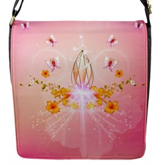 Wonderful Flowers With Butterflies And Diamond In Soft Pink Colors Flap Messenger Bag (S)