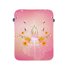 Wonderful Flowers With Butterflies And Diamond In Soft Pink Colors Apple iPad 2/3/4 Protective Soft Cases