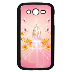 Wonderful Flowers With Butterflies And Diamond In Soft Pink Colors Samsung Galaxy Grand DUOS I9082 Case (Black)