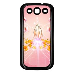 Wonderful Flowers With Butterflies And Diamond In Soft Pink Colors Samsung Galaxy S3 Back Case (Black)