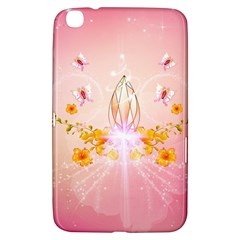 Wonderful Flowers With Butterflies And Diamond In Soft Pink Colors Samsung Galaxy Tab 3 (8 ) T3100 Hardshell Case
