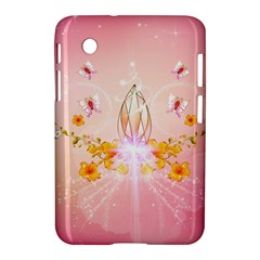 Wonderful Flowers With Butterflies And Diamond In Soft Pink Colors Samsung Galaxy Tab 2 (7 ) P3100 Hardshell Case