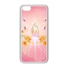 Wonderful Flowers With Butterflies And Diamond In Soft Pink Colors Apple iPhone 5C Seamless Case (White)