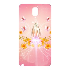 Wonderful Flowers With Butterflies And Diamond In Soft Pink Colors Samsung Galaxy Note 3 N9005 Hardshell Back Case
