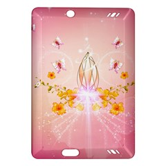 Wonderful Flowers With Butterflies And Diamond In Soft Pink Colors Kindle Fire HD (2013) Hardshell Case