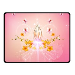 Wonderful Flowers With Butterflies And Diamond In Soft Pink Colors Double Sided Fleece Blanket (Small)