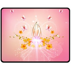 Wonderful Flowers With Butterflies And Diamond In Soft Pink Colors Double Sided Fleece Blanket (medium)