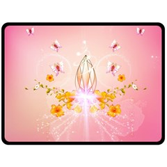 Wonderful Flowers With Butterflies And Diamond In Soft Pink Colors Double Sided Fleece Blanket (Large)