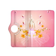 Wonderful Flowers With Butterflies And Diamond In Soft Pink Colors Kindle Fire HDX 8.9  Flip 360 Case