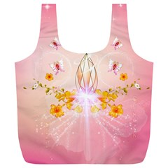 Wonderful Flowers With Butterflies And Diamond In Soft Pink Colors Full Print Recycle Bags (L)