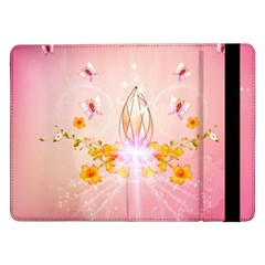 Wonderful Flowers With Butterflies And Diamond In Soft Pink Colors Samsung Galaxy Tab Pro 12.2  Flip Case