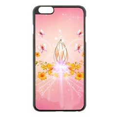 Wonderful Flowers With Butterflies And Diamond In Soft Pink Colors Apple iPhone 6 Plus/6S Plus Black Enamel Case