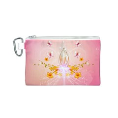 Wonderful Flowers With Butterflies And Diamond In Soft Pink Colors Canvas Cosmetic Bag (S)