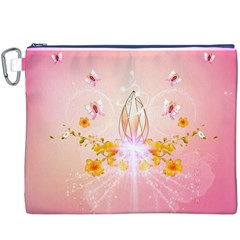Wonderful Flowers With Butterflies And Diamond In Soft Pink Colors Canvas Cosmetic Bag (XXXL)