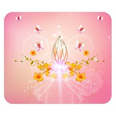 Wonderful Flowers With Butterflies And Diamond In Soft Pink Colors Double Sided Flano Blanket (Small)
