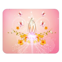 Wonderful Flowers With Butterflies And Diamond In Soft Pink Colors Double Sided Flano Blanket (Large)