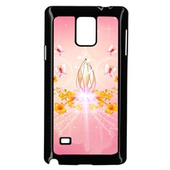 Wonderful Flowers With Butterflies And Diamond In Soft Pink Colors Samsung Galaxy Note 4 Case (Black)