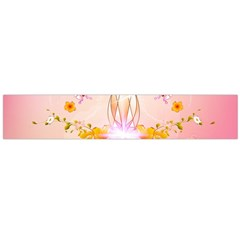 Wonderful Flowers With Butterflies And Diamond In Soft Pink Colors Flano Scarf (Large)