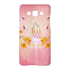 Wonderful Flowers With Butterflies And Diamond In Soft Pink Colors Samsung Galaxy A5 Hardshell Case
