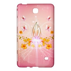 Wonderful Flowers With Butterflies And Diamond In Soft Pink Colors Samsung Galaxy Tab 4 (8 ) Hardshell Case