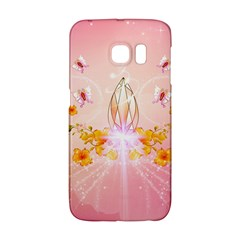 Wonderful Flowers With Butterflies And Diamond In Soft Pink Colors Galaxy S6 Edge
